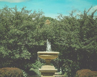 Fountain Photograph - Summer Garden Photograph - Ohio - Pretty Wall Art - Green Home Decor - Cottage Chic Decor - Large Wall Art Print -