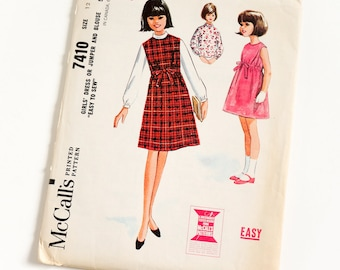 Vintage 1960s Girls Size 12 Sleeveless Dress or Jumper and Blouse McCalls Sewing Pattern 7410 Complete / b30 w25 / Drawstring High Waist