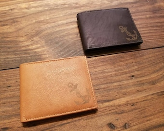 Laser Engraved Leather Wallet - Nautical Anchor - Nautical Wallet - Gift for Him