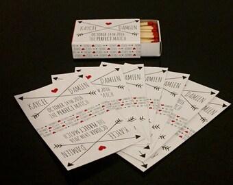 Stickers for wedding match boxes. Arrow Design Wedding match box covers/stickers. Wedding Favor - Customised matchboxes, cigar bar