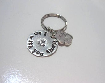 Foot prints in the sand Key chain charm, I am with you always, confirmation, baptism, religious gift