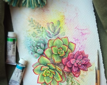 Succulents - ORIGINAL watercolor painting 7.5x11 inches