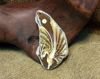 Coffee Brown Dragon Hand Painted on Agate Slice