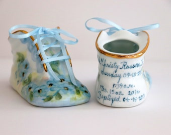 Porcelain Baby Shoe - Personalized Baby Boy or Girl Shoe for Baptism or Christening - 100 % Hand Painted Ceramic Baby Shoe Keepsake