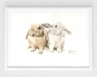 """Original watercolor,bunny painting,""""be together N.4"""",original painting,7""""x10"""",home decor"""
