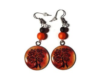 Dangling earrings cats and tree of life black and orange / gift
