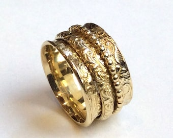 Spinner ring women, wide band, meditation ring, Golden brass band, ring with spinners, botanical ring, filigree ring  - Morning bird RK1209E