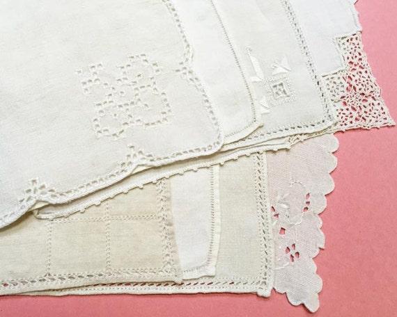 Dessert Napkins, Set of 8, Vintage Cloth Napkins in White and Natural