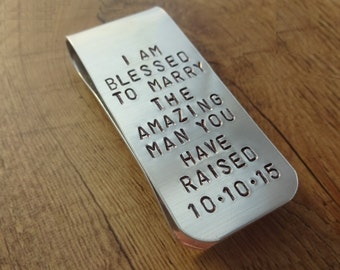 Men's Personalized Money Clip - Hand Stamped Accessories - Father of the Groom - Wedding Accessories - Gift for Father of Groom
