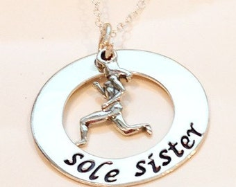 Hand stamped sole sister running necklace-half marathon necklace full marathon necklace-runners necklace