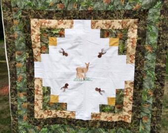 Camoflauge, Pieced, Deer, Log Cabin Quilt