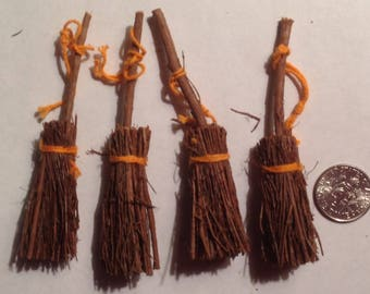 4 Miniature Flying Brooms for your dollhouse Witchy Poo
