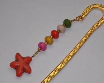 Orange Magnesite Starfish Rainbow Bookmark