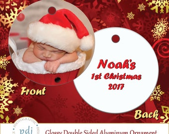 Personalized Doublesided Aluminum Photo Christmas Ornament!  Perfect to decorate your Christmas! Christmas/Xmas/Ornament/Photo/Tree/Holiday