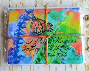 8 Postcard Set, Frida Kahlo Quote,Floral Postcards, Butterfly Postcards, Nature Postcards,Wildlife Postcards,Watercolor,Butterfly Stationery