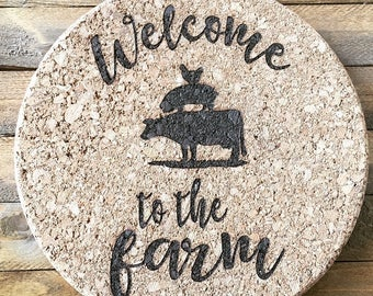 Welcome to the Farm Trivet, Camper Hotplate, Cork Trivet, Hotplate, Cork Hotplate, Cork Board, Round Hotplate, Hot Pad, Hotplate Trivet