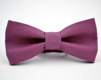 Mens Bowtie Kaufman Kona in Plum, Purple Bow Tie, Groomsmen Bow Tie, Wedding Bow Ties, Adjustable Bow Tie