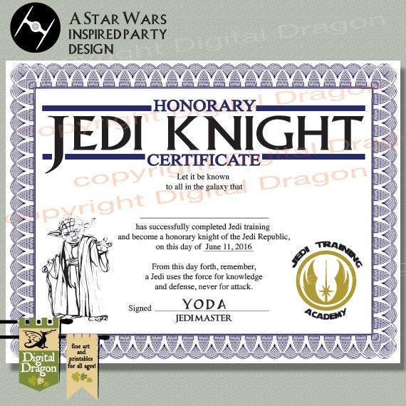 Star Wars Jedi Knight Party Zertifikat druckbare