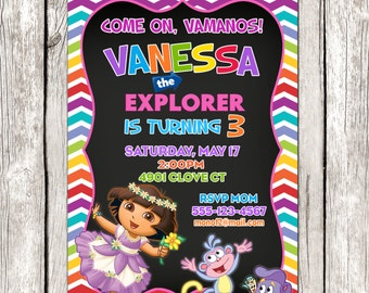 Dora Invitation - Dora the Explorer Birthday Party - Chalkboard Invite