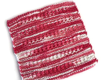 Dishcloth, Washcloth,Gift,Hostess Gift,Eco Friendly,Cotton Kitchen Cloth,Pinks & Corals,Hand Knit DishCloth,Housewarming,Gift for Him or Her