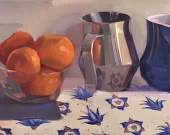 """Art oil painting still life by Sarah Sedwick """"The Pattern Beneath All Things"""" Framed, 10x20"""""""