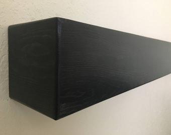 "Ebony fireplace mantel, mantel shelf, floating mantel, floating shelf, fireplace mantle, beam shelf, tv shelf,60""Longx5.5""Deepx5.5""High"