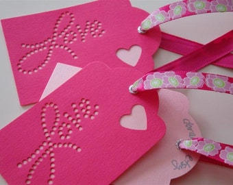 Love With All My Heart - Three (3) Premium Hand-hammered Gift Art Tags/Place Card Holders - Textured Card Stock with Ribbon DDOTS