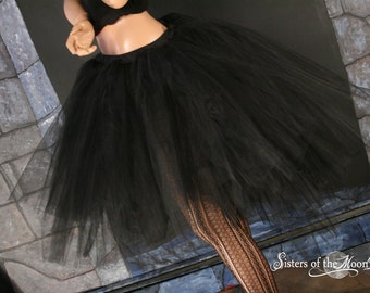 Virgin Black Romance tutu skirt trash dance extra poofy knee length Adult  petticoat gothic bridal - You Choose Size -- Sisters of the Moon