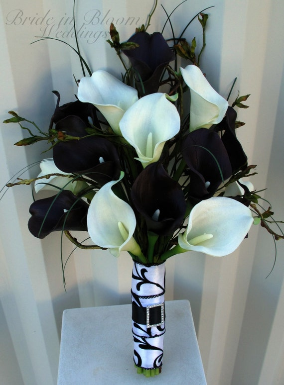 Wedding bouquet real touch plum black white calla lily bridal like this item mightylinksfo