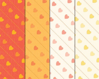12 Valentine Heart Patterns - Digital Papers