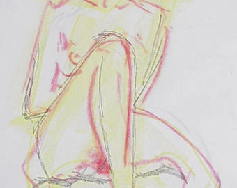 Original nude drawing, nude, sketch of pastel chalk and graphite, nude in studio, white paper A2
