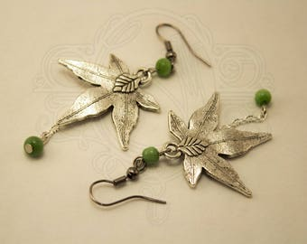 Silver leaf earrings and green beads