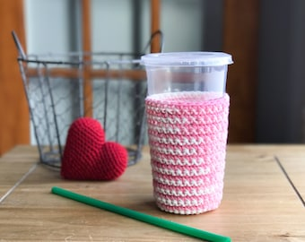 Galentines Day Gifts - Iced Coffee Sleeve - Crochet Coffee Cup Sleeve - Frozen Coffee Sleeve - Eco Friendly Gifts - Coffee Cup Sleeve