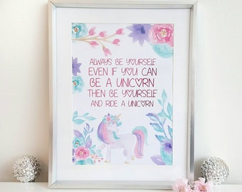 Unframed print, foil print, foil art, foil quote, pink, unicorn art, unicorn print, Inspirational quote, quote print, quote art, wall art
