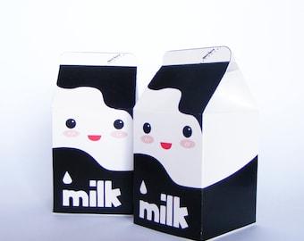 MILK CARTON  favour box. Set of 6.  Milkbox. Milk favor box.