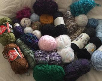 Yarn Destash 28 skeins Assorted Colors
