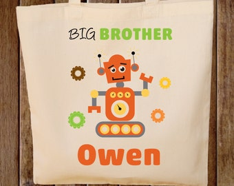 Big Brother Tote Bag Boys Tote Bag  Robot tote bag