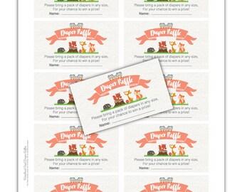 Woodland Coed Diaper Raffle - INSTANT DOWNLOAD - DIY Printable (Digital File Jpeg and Pdf)