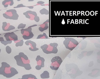 Waterproof Fabric - Grey Leopard Pattern, 150cm Width, by Yard
