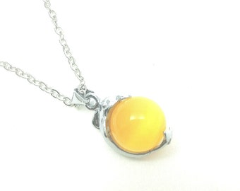Silver plated yellow cats eye glass bead,dolphin, handmade necklace