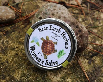 Women's Salve - Healing Herbal Salve, Yarrow and Plantain, Organic Essential Oils Aromatherapy, Cramp Relief, PMS and Menopause,  Wild Woman