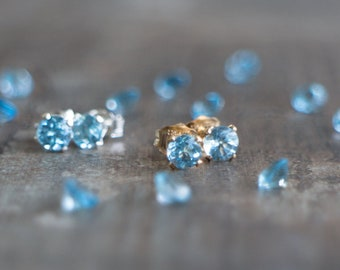 Blue Topaz Studs - November Birthstone