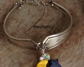 Moon and Stars bracelet handmade from vintage sterling silverplated spoon handles
