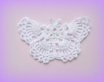 White crochet Butterfly applique