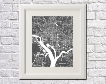 Washington DC Street Map Print Map of Washington DC City Street Map Poster City Art 7003