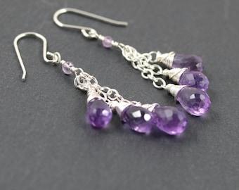 Amethyst & Sterling Silver Cluster Earrings. Long Dangle Bead Earrings. Purple Gemstone Tassel Earrings. Wire Wrapped Beaded Drop Earrings