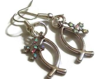 Ichthus Jesus Fish Rhinestone Cross Dangle Earrings
