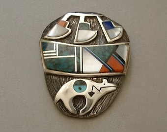RARE Vintage Native American Indian Turquoise BROOCH Lapis Onyx Mother Pearl Gemstone Inlay NAVAJO Sterling Pottery Bear Signed Hallmarked