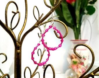 Hot Pink Beaded Wire Hoop Earrings by Anne O'Brien Design