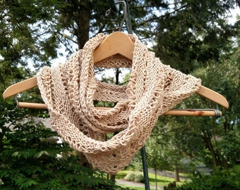 Hand Knit Lace Mobius Scarf